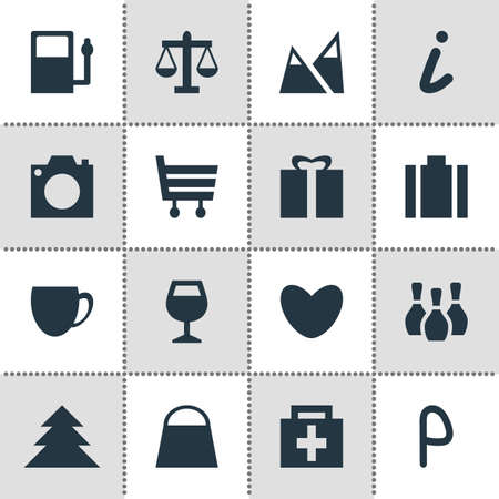 Vector Illustration Of 16 Map Icons. Editable Pack Of Wineglass, Shopping Cart, Scales And Other Elements. Иллюстрация