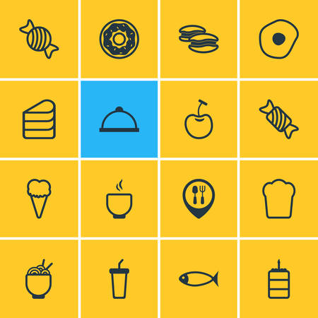 Vector Illustration Of 16 Meal Icons. Editable Pack Of Cake, Sundae, Spaghetti And Other Elements. Illustration