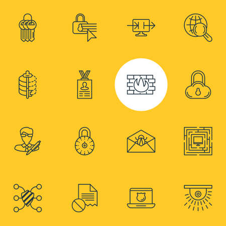 Vector Illustration Of 16 Data Icons. Editable Pack Of Safe Lock, Key Collection, Internet Surfing And Other Elements.
