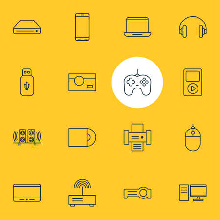 pad: Vector Illustration Of 16 Accessory Icons. Editable Pack Of Computer, Dvd Drive, Usb Card And Other Elements.