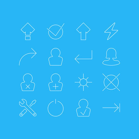 Vector Illustration Of 16 Interface Icons. Editable Pack Of Upward, Avatar, Yes And Other Elements.