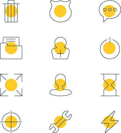 Vector Illustration Of 12 User Interface Icons. Editable Pack Of Wide Monitor, Bolt, Dossier And Other Elements.