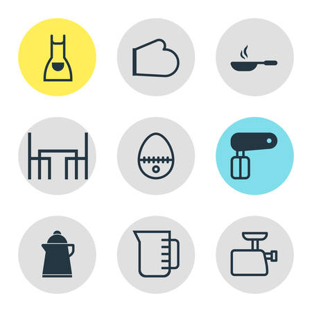 housewares: Vector Illustration Of 9 Cooking Icons. Editable Pack Of Whisk, Tea, Mincer And Other Elements. Illustration
