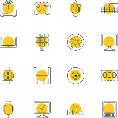 old notebook: Vector Illustration Of 16 Computer Icons. Editable Pack Of Router, Cooler, Objective And Other Elements.