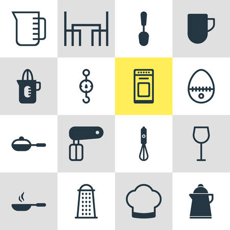saute: Vector Illustration Of 16 Kitchenware Icons. Editable Pack Of Shaker, Tablespoon, Wine And Other Elements.