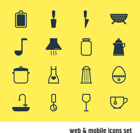 Vector Illustration Of 16 Kitchenware Icons. Editable Pack Of Tea, Smock, Slicer And Other Elements.