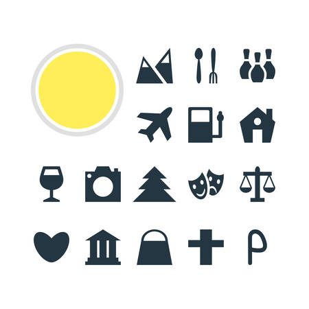 Vector Illustration Of 16 Check-In Icons. Editable Pack Of University, Cafe , Landscape Elements. Illustration