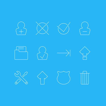 Vector Illustration Of 12 UI Icons. Editable Pack Of Displacement, Upward, Register Account And Other Elements.