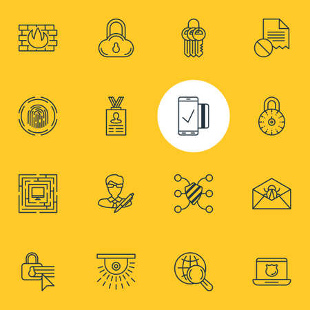 Vector Illustration Of 16 Privacy Icons. Editable Pack Of Account Data, Data Security, Internet Surfing And Other Elements.