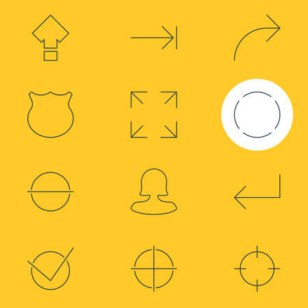 tabulation: Vector Illustration Of 12 User Interface Icons. Editable Pack Of Tabulation Button, Guard, Female User And Other Elements.