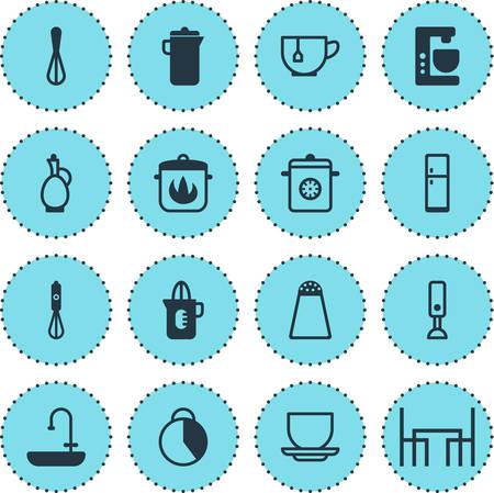 Vectorillustratie van 16 pictogrammen van het restaurant. Bewerkbare Pack Shaker, Pepper Container, Karaf en andere elementen.