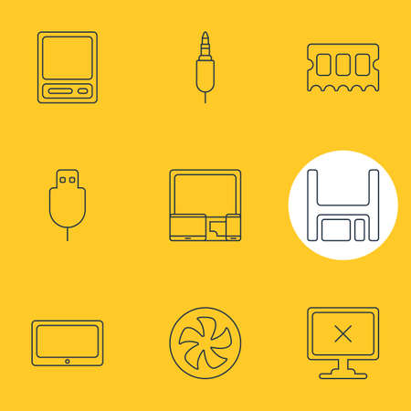 Vector Illustration Of 9 Laptop Icons. Editable Pack Of Input Jack, Pda, Diskette And Other Elements.
