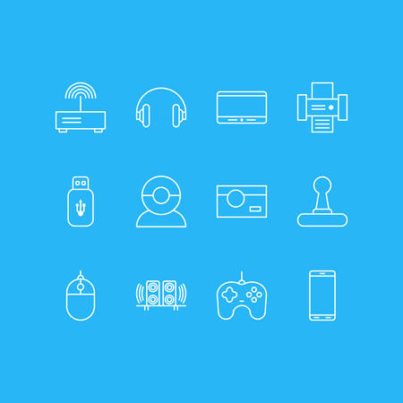 Vector Illustration Of 12 Accessory Icons. Editable Pack Of Loudspeaker, Modem, Smartphone And Other Elements. 向量圖像