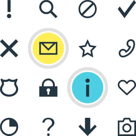 Vector Illustration Of 16 Member Icons. Editable Pack Of Emotion, Confirm, Handset Elements. Illustration