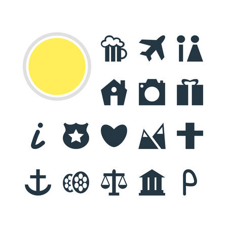 Vector Illustration Of 16 Check-In Icons. Editable Pack Of Cop , Scales, Landscape Elements. Illustration