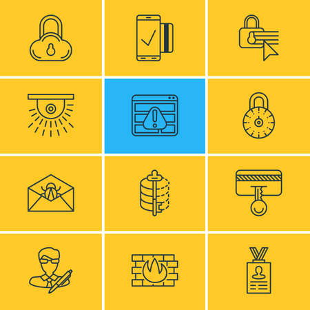 Vector Illustration Of 12 Internet Security Icons. Editable Pack Of Copyright, Account Data, Network Protection And Other Elements. Illustration