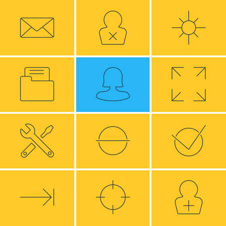 tabulation: Vector Illustration Of 12 Interface Icons. Editable Pack Of Maintenance, Envelope, Tabulation Button And Other Elements.