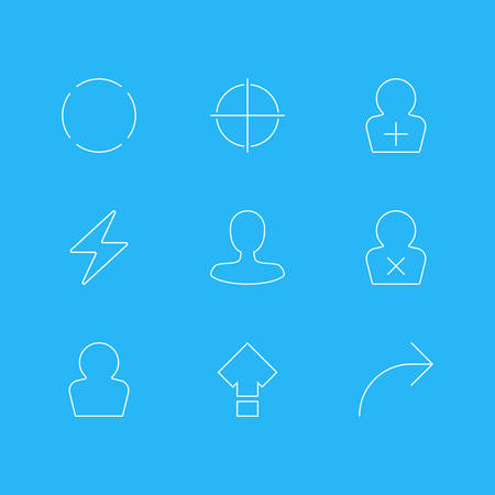 Vector Illustration Of 9 User Interface Icons. Editable Pack Of Positive, Bolt, Register Account And Other Elements.