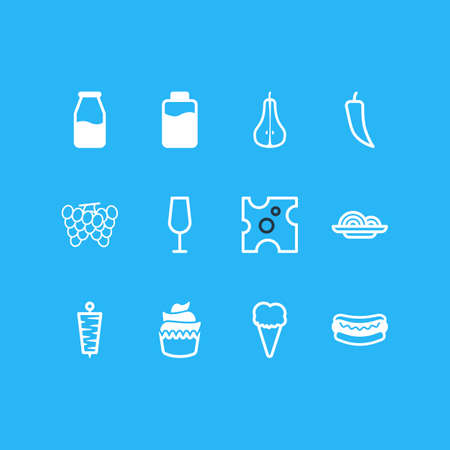 Vector Illustration Of 12 Cooking Icons. Editable Pack Of Sundae, Duchess, Goblet And Other Elements.
