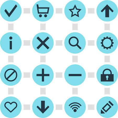 Vector Illustration Of 16 Interface Icons. Editable Pack Of Wrong, Top, Cogwheel And Other Elements.