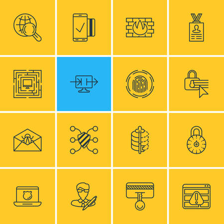 valid: Vector Illustration Of 16 Protection Icons. Editable Pack Of Encoder, Internet Surfing, Finger Identifier And Other Elements.