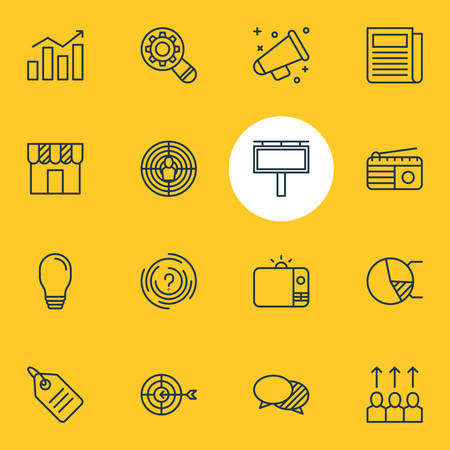 Vector Illustration Of 16 Marketing Icons. Editable Pack Of Advancement, Discount Label, Aiming And Other Elements.