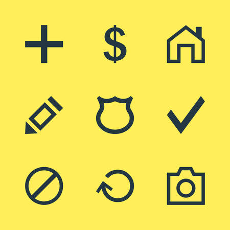 safekeeping: Vector Illustration Of 9 Interface Icons. Editable Pack Of Confirm, Snapshot, Mainpage And Other Elements.