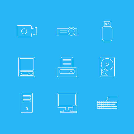 Vector Illustration Of 9 Laptop Icons. Editable Pack Of Qwerty Board, Phone Near Computer, Pda And Other Elements. Illustration