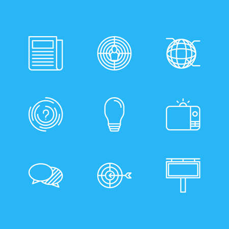 Vector Illustration Of 9 Marketing Icons. Editable Pack Of Network, Goal, Television And Other Elements.