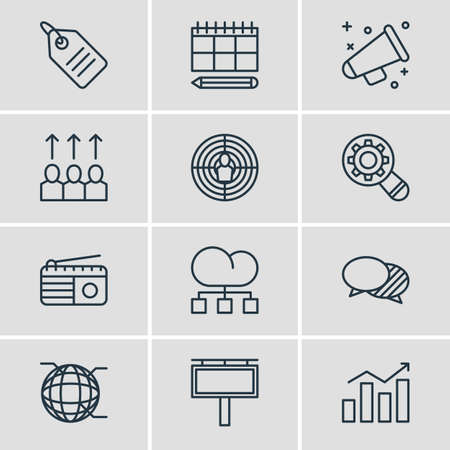 advancement: Vector Illustration Of 12 Ad Icons. Editable Pack Of Advertising Billboard, Advancement, Aiming And Other Elements.