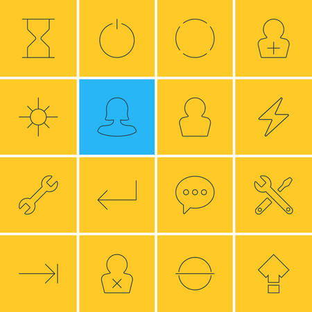 Vector Illustration Of 16 Interface Icons. Editable Pack Of Register Account, Repeat, Maintenance And Other Elements.