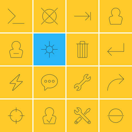 tabulation: Vector Illustration Of 16 UI Icons. Editable Pack Of Avatar, Share, Cancel And Other Elements. Illustration