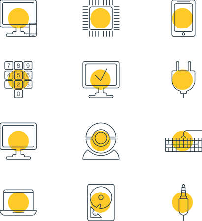 minicomputer: Vector Illustration Of 12 Notebook Icons. Editable Pack Of Online Computer, Phone Near Computer, Input Jack And Other Elements.