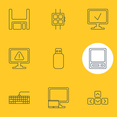 Vector Illustration Of 9 Computer Icons. Editable Pack Of Online Computer, Warning, Modern Watch And Other Elements.