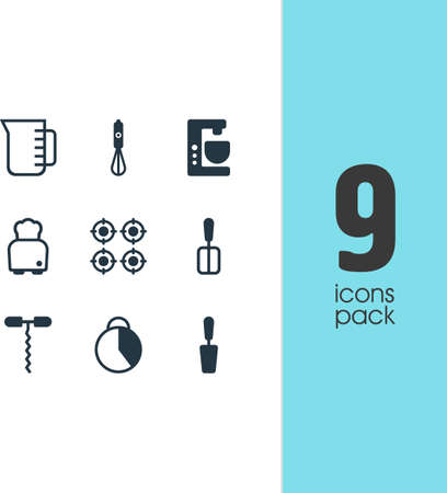 coking: Vector Illustration Of 9 Restaurant Icons. Editable Pack Of Timekeeper, Mixer, Cooking Spade And Other Elements. Illustration