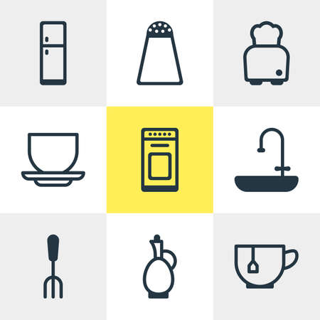 Vector Illustration Of 9 Cooking Icons. Editable Pack Of Bread, Mug, Pepper Container And Other Elements. Illustration