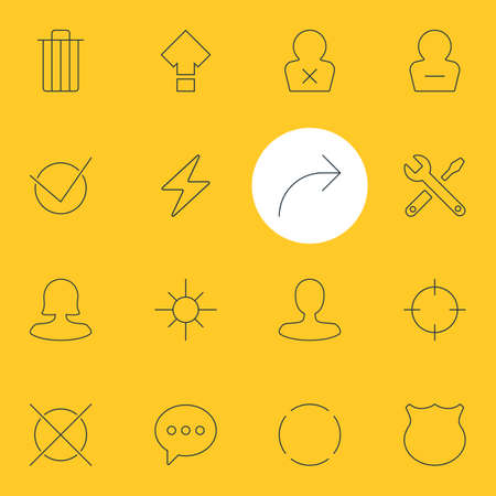 Vector Illustration Of 16 UI Icons. Editable Pack Of Displacement, Garbage, Female User And Other Elements. Illustration