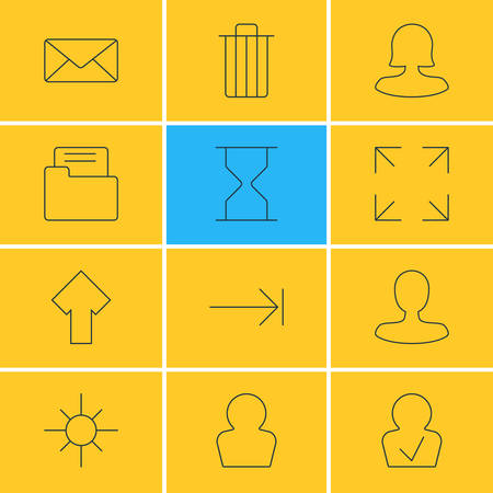 Vector Illustration Of 12 User Interface Icons. Editable Pack Of Upward, Man Member, Envelope And Other Elements.