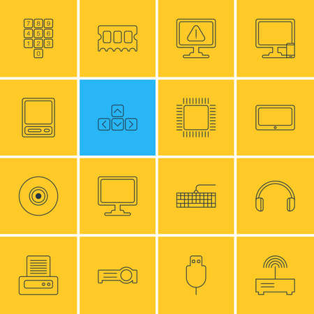 Vector Illustration Of 16 Notebook Icons. Editable Pack Of Presentation, Microprocessor, Router And Other Elements.