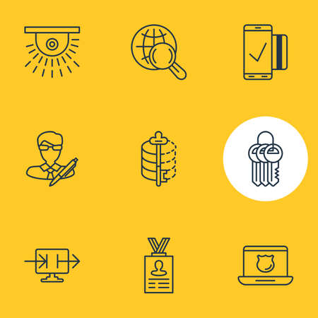 decode: Vector Illustration Of 9 Protection Icons. Editable Pack Of Key Collection, Easy Payment, Account Data And Other Elements.