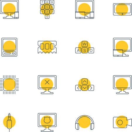 minicomputer: Vector Illustration Of 16 Laptop Icons. Editable Pack Of Phone Near Computer, Microprocessor, Input Jack And Other Elements. Illustration