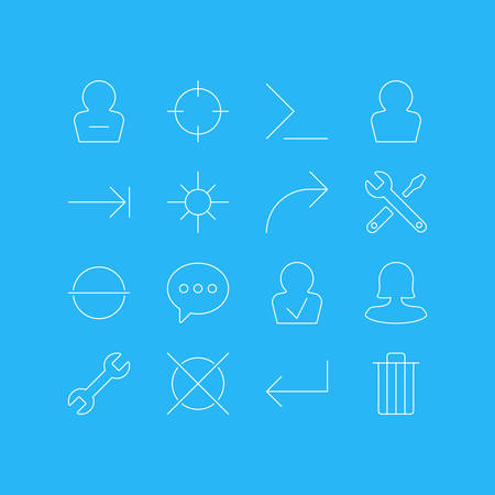 Vector Illustration Of 16 Interface Icons. Editable Pack Of Message, Garbage, Remove And Other Elements. Illustration