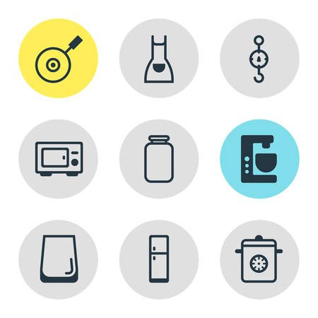 Vector Illustration Of 9 Cooking Icons. Editable Pack Of Steelyard, Oven, Mixer And Other Elements.