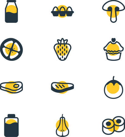 cruet: Vector Illustration Of 12 Food Icons. Editable Pack Of Japanese Roll, Muffin, Cruet And Other Elements. Illustration