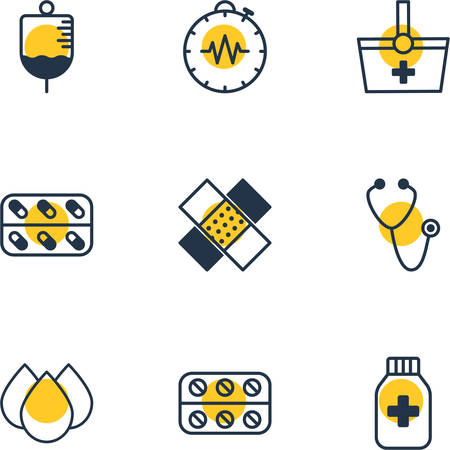 Vector Illustration Of 9 Medicine Icons. Editable Pack Of Medicine Jar, Antibody, Pills And Other Elements.