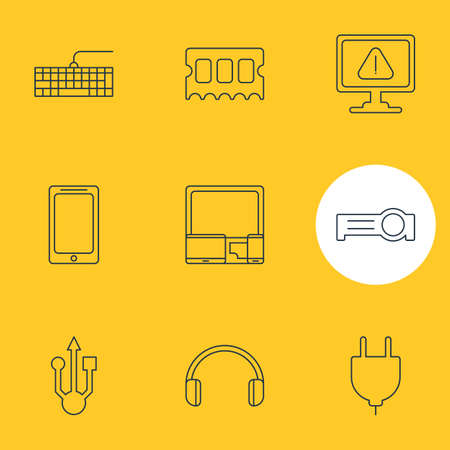 Vector Illustration Of 9 Laptop Icons. Editable Pack Of Qwerty Board, Smartphone, Socket And Other Elements.