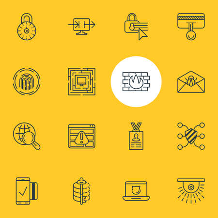 decode: Vector Illustration Of 16 Data Icons. Editable Pack Of Account Data, Confidentiality Options, System Security And Other Elements.