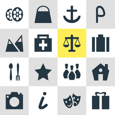 Vector Illustration Of 16 Location Icons. Editable Pack Of Home, Present, Bookmark And Other Elements.