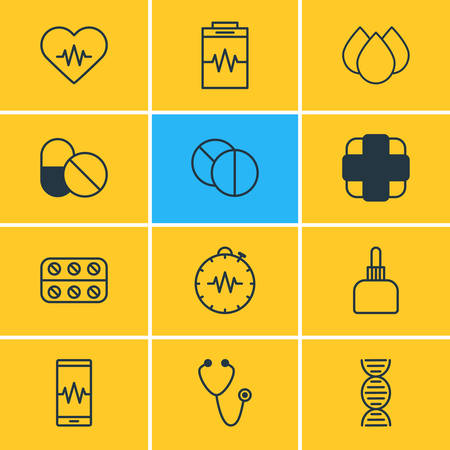 Vector Illustration Of 12 Health Icons. Editable Pack Of Pills, Trickle, Phone Monitor And Other Elements.