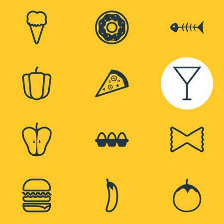 petiole: Vector Illustration Of 12 Dish Icons. Editable Pack Of Skeleton, Martini, Jonagold And Other Elements.